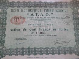 Action 100 Francs Société Des Transports De L'Afrique Occidentale STAO - Transports