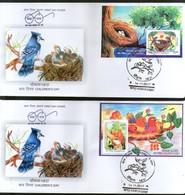 India 2017 Children's Day Paintings Nest Egg Birds Parrot Wildlife 2 M/s Set FDC - Parrots