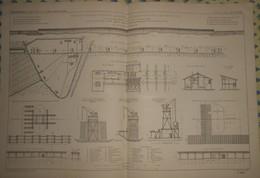 Plan Du Grand Pont Tubulaire à Deux étages Superposés Sur Le Pô Près De Mezzanacorti. Italie. 1869 - Public Works