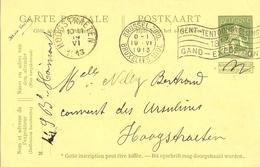 Belgique - 1913 - 5c Lion Debout 116 Sur Carte Postale - Bruxelles à Hoogstraeten - Flamme Expo Gand - AK [1909-34]