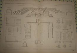 Plan De La Ferme Impériale De Saint Germain. Les Tirés.1869 - Public Works