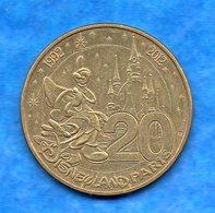 Médaille- -Monnaie De Paris - 2012-  20 Ans De  -Disneyland- Bon état   Circulée - Monnaie De Paris
