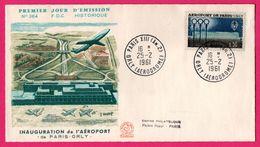FDC N° 364 - Inauguration De L'Aéroport De Paris Orly - Février 1961 - COMBET - Empire Philatélique Palais Royal - Autres (Air)