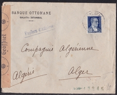 Banque Ottomane Galata Istanbul Turkey Cover  Send To Algeria 1942 - NAZI CENSOR - Turkei Turquie - 1921-... Republic