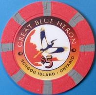$5 Casino Chip. Great Blue Heron, Port Perry, Canada. M16. - Casino