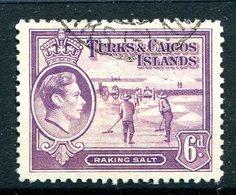 Turks And Caicos Islands 1938 KGVI Salt Industry - 6d Mauve Used (SG 201) - Turks And Caicos