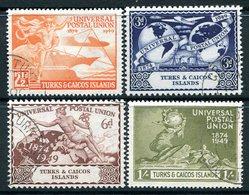 Turks & Caicos Islands 1949 KGVI 75th Anniversary Of Universal Postal Union UPU Set Used (SG 217-20) - Turks And Caicos
