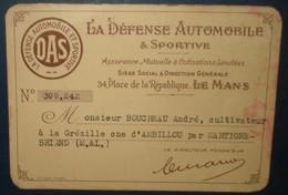 Carte D'Ahdérent De LA DEFENSE AUTOMOBILE & SPORTIVE. - Voitures