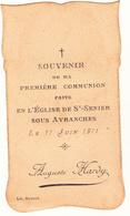 IMAGE PIEUSE ANNONCANT LA COMMUNION DE AUGUSTE HARDY  Le 11 Juin 1911 à St Senier Sous Avranches 50 - Communion