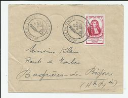 FRANCE - TIMBRE SUR ENVELOPPE CAD JOURNEE DU TIMBRE 15/3/1947 PARIS POUR BAGNERES DE BIGORRE - FDC