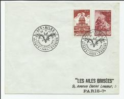 FRANCE - 2 TIMBRES SUR ENVELOPPE CAD EXPOSITION DES AILES BRISEES CINQUANTENAIRE ADER 22/11/1947 - France