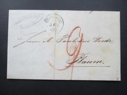 AD Sachsen Vorphila 1849 Stempel K1 Glauchau. Facilides & Com. Glauchau. Plauen. Bartaxe / Rotstift 9 - Sachsen