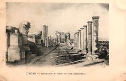 ALGERIE - RUINES ROMAINES DE TIMGAD - LE FORUM PORTIQUE NORD ET TRIBUNE AUX BARANGUES - Algeria