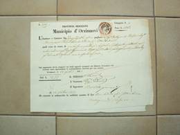 ITALIA VECCHIO DOCUMENTO ORDINE DI PAGAMENTO CON MARCA FISCALE RE VITTORIO ORZINUOVI BRESCIA 1863 - Supplies And Equipment