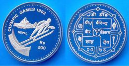 NEPAL 500 R 1992 ARGENTO PROOF TRAMPOLINO SCI OLYMPIC GAMES 92 PESO 31,47 TITOLO 0,925 CONSERVAZIONE FONDO SPECCHIO UNC. - Nepal