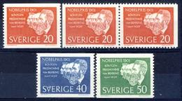 +B1338. Sweden 1961. Nobel Pricewinners 1901. Michel 482-84 Incl. Pair. MNH(**) - Zweden