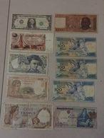 MONDE: Bon Lot De 10 Billets: 1 Algérie, 1 Etats Unis, 3 France, 1 Madagascar, 4 Portugal - 1962-1997 ''Francs''