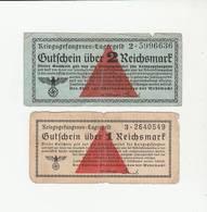 """2 BILLET """"GUTSCHEIN"""" ÜBER DE 1 ET 2 REICHSMARK LAGERGELD POUR PRISONNIER CAMP ALLEMAND - [ 4] 1933-1945 : Third Reich"""