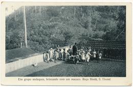 SAO TOME ET PRINCIPE - Grupo De Muleques Brincado Com Um Macaco, Roça Bindà - Sao Tome And Principe