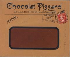 Enveloppe Chocolat Pissard Sallanches Haute Savoie Daguin Sallanches Vue Unique Sur Mont Blanc YT 194 Seul Sur Lettre - 1921-1960: Période Moderne