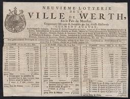 BILLET DE LOTERIE ORNE / 1780 VILLE DE WERTH PRES MUNSTER - ALLEMAGNE (ref 7647) - Billets De Loterie