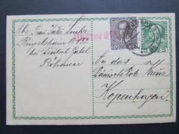 GANZSACHE Reichenberg - Kopenhagen Überpr¨ft 1915  /// D*31055 - 1850-1918 Imperium