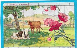PUB Chocolat D'Aiguebelle - Cpa Façon Puzzle,Vaches Au Pré - Mois De Juillet - Advertising