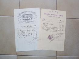 ITALIA FRIULI 2 VECCHIE FATTURE GRANDE ALBERGO BULFONI VOLPATO E GRANDE ALBERGO ITALIA UDINE 1888 - Supplies And Equipment