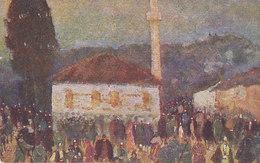 """CROCE ROSSA /  Cartolina Commemorativa _ Valona - Piazza Del Bazar - ILLUSTRATOTE  """" T. CASCELLA """" - Croce Rossa"""