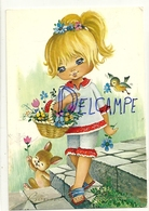 Big Eyes. Bonne Fête Maman. Petite Fille Blonde, Fleurs, Lapin, Oiseau. 1977 - Fête Des Mères