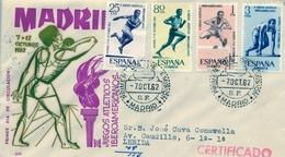 1962 , SOBRE DE PRIMER DIA , ED. 1450 / 1453 , II JUEGOS ATLÉTICOS IBEROAMERICANOS - FDC