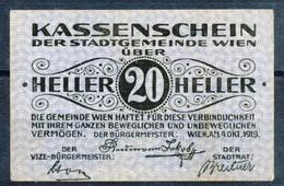 Österreich  Kat. Nr: 5  Wien, Kassenschein Der Stadtgemeinde Wien  1919 20 Heller - Oesterreich