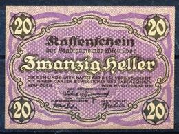 Österreich  Kat. Nr: 8  Wien, Kassenschein Der Stadtgemeinde Wien  1920 20 Heller - Oesterreich