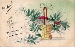 83Vn  Cpa Peinte Peint Main Dessin Peinture Poisson D'avril Dans Un Panier Fleuri - Illustratori & Fotografie