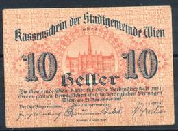 Österreich  Kat. Nr: 10  Wien, Kassenschein Der Stadtgemeinde Wien  1919  10 Heller - Oesterreich