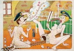 83Vn  Illustrateur Daniel Menneboeuf Coquine érotique Humour Train Sur La Voie Royale - Illustrators & Photographers