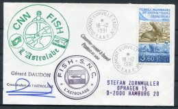 1991 T.A.A.F. France Antactic Antarctica Dumont D'Urville FISH S.N.C. L'Astrolabe Seal Cover SIGNED - French Southern And Antarctic Territories (TAAF)