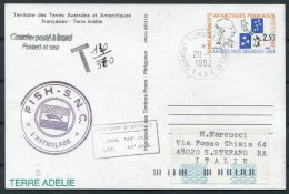 1992 T.A.A.F. France Antactic Dumont D'Urville FISH S.N.C. L'Astrolabe Penguin Stationery Postcard. Taxe - Italy - French Southern And Antarctic Territories (TAAF)