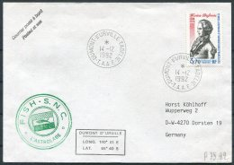 1992 T.A.A.F. France Antarctic Antarctica Dumont D'Urville FISH S.N.C. L'Astrolabe Cover - French Southern And Antarctic Territories (TAAF)