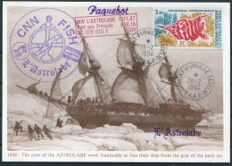 1994 T.A.A.F. France Antarctic Dumont D'Urville FISH S.N.C. L'Astrolabe Expedition Paquebot Penguin Helicopter Postcard - French Southern And Antarctic Territories (TAAF)