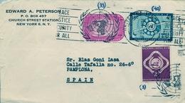 1958 , NACIONES UNIDAS , NUEVA YORK , SOBRE CIRCULADO A PAMPLONA - New-York - Siège De L'ONU