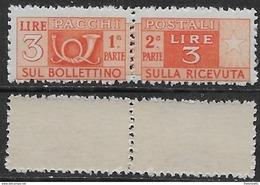 Italia Italy 1946 Pacchi Postali Ruota 3L Sa N.PP70 Nuovo Integro MNH ** - Pacchi Postali