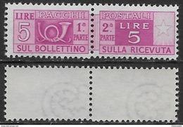 Italia Italy 1946 Pacchi Postali Ruota 5L Sa N.PP72 Nuovo Integro MNH ** - Pacchi Postali