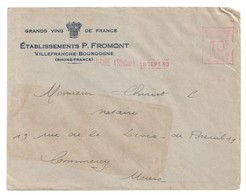 4472 VILLEFRANCHE Rhône Vins FROMONT Bourgogne EMA B 0567 10c Ob 18 9 1930 - Wijn & Sterke Drank