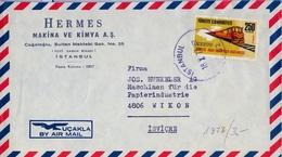 1973 , TURQUIA , SOBRE COMERCIAL CIRCULADO ENTRE ESTAMBUL Y WIKON , FERROCARRIL - 1921-... Republic