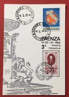 FAENZA CIRCOLO TORRICELLI  CARTOLINA PER IL CONVEGNO FILATELICO 1966 - Cartoline