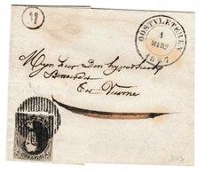 Belgique N°6 10C Fil Simple / Lettre D43 De OOSTVLETEREN Vers Veurne 1/3/1857 Boite (M) LOO Pour Marges Voir Les Scans R - 1851-1857 Medaglioni (6/8)
