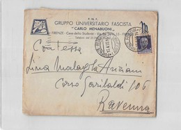 15664 01 P.N.F. GRUPPO UNIVERSITARIO FASCISTA CARLO MENABUONI FIRENZE X RAVENNA - 1900-44 Vittorio Emanuele III