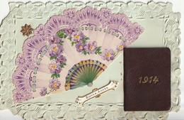 CPA Bonne Année, Eventail  Et Almanach En Relief 1914 - Neujahr