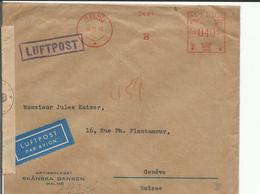 Suède, Lettre Censure Par Avion, Skänska Banken Malmö - Genève, Cachet Valeur (26.6.1943) 14x16 - Covers & Documents